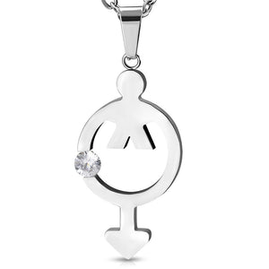 Stainless Steel Male Gender Symbol Charm Pendant w/ Clear CZ w/Chain