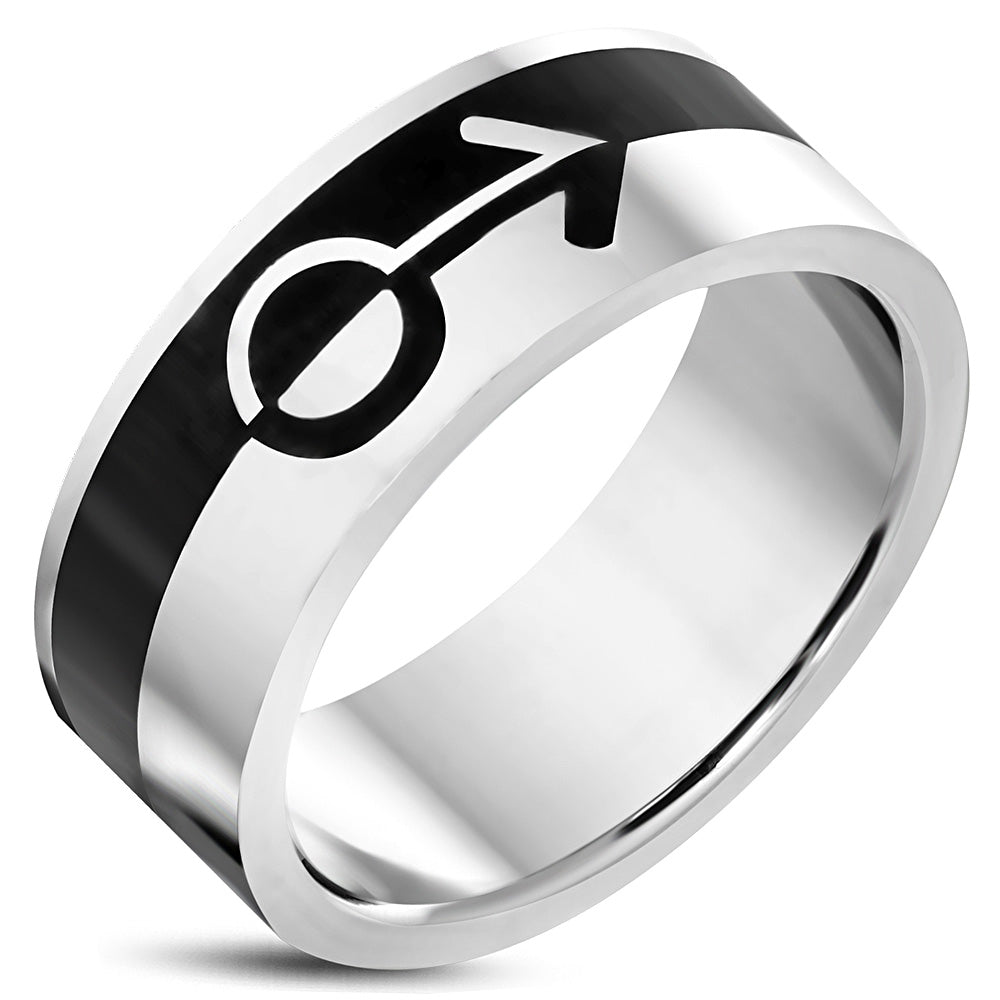 Stainless Steel 2-tone Male Gender Symbol Flat Band Ring