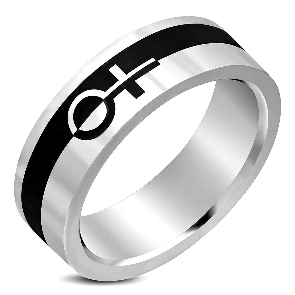 Stainless Steel 2-tone Female Gender Symbol Flat Band Ring