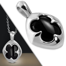Load image into Gallery viewer, Stainless Steel Flower Oval Charm Pendant w/ Black Onyx Stone w/Chain