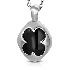 Stainless Steel Flower Oval Charm Pendant w/ Black Onyx Stone w/Chain