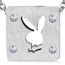 Load image into Gallery viewer, Stainless Steel Cut-out Bunny/ Rabbit Square Charm Pendant w/ Clear CZ w/Chain