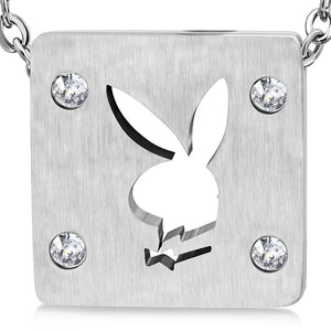 Stainless Steel Cut-out Bunny/ Rabbit Square Charm Pendant w/ Clear CZ w/Chain