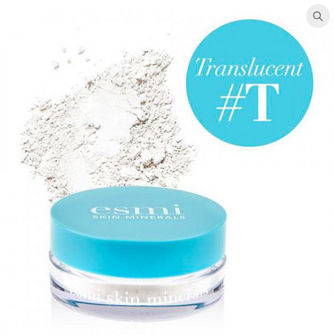 Esmi Skin Minerals, Mineral Translucent Powder. Crushed mineral ingredients, set all skin types. 100% Australian & Vegan.