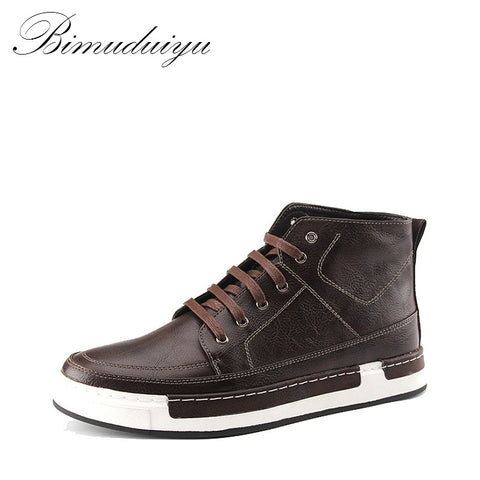 BIMUDUIYU New high-top Men's Ankle Boots Casual Leather Retro