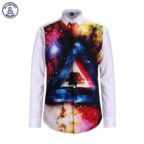 Mr.1991 INC New men's long sleeve 3d shirt Geometric triangle tree printed space galaxy