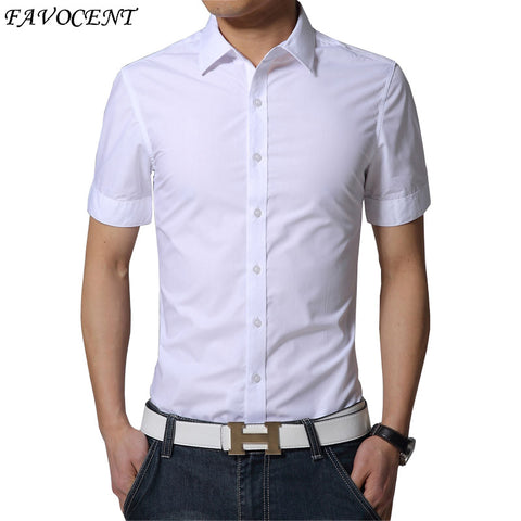 FAVOCENT Summer Fashion Collar Shirt Mens Short Sleeve Pure Leisure Shirt