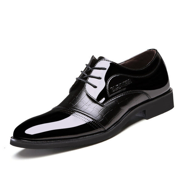 Luxury Brand Patent Leather Oxfords Men's Flats Formal Shoes