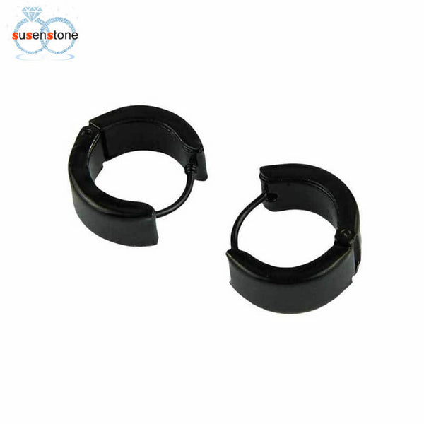 SUSENSTONE Men Women Unisex Black Hoop Huggie Earrings in Stainless Steel One Pair