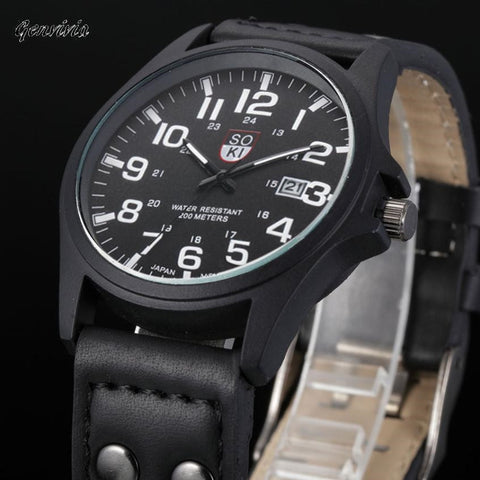 GENVIVIA 2017 Mens Vintage Classic sport watches With Leather Strap