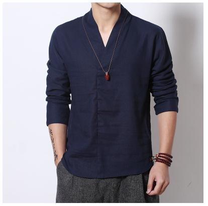 FAVOCENT Men Linen Shirts Long Sleeve Chinese Style Mandarin Collar Traditional Kung Fu Tang  Shirt
