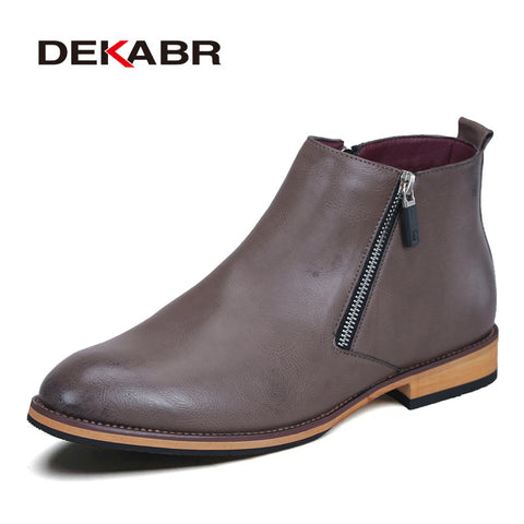 DEKABR Men Black Winter Leather Snow Boots