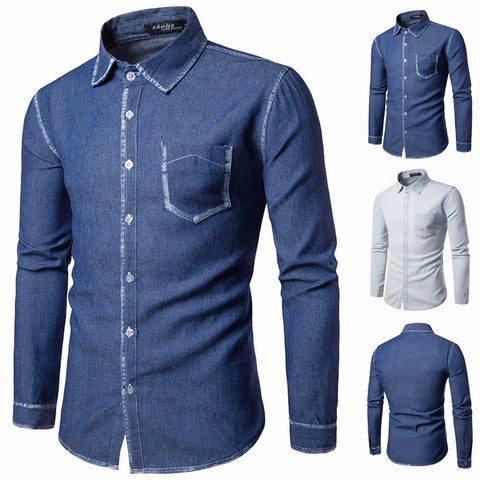 Mens Casual Long Sleeve Shirt Business Slim Fit Shirt Cowboy Blouse Top
