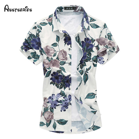 2018 Summer New Large Size Men Shirt Male Casual Print Short Sleeve Shirt Hawaii Shirt