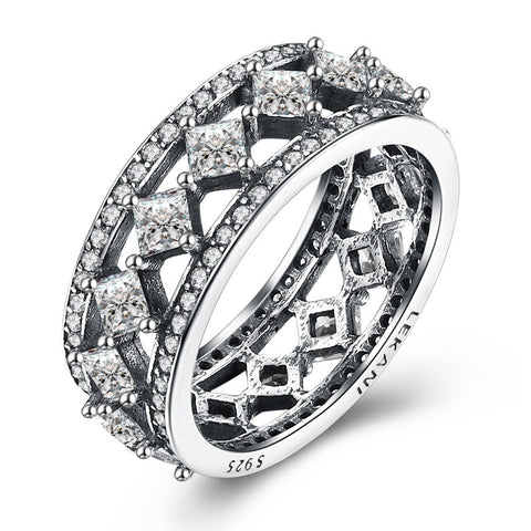 925 Sterling Silver Retro style zirconium ring