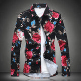 Autumn Slim Fit Men Floral Shirts