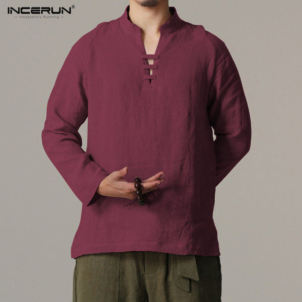 2018 INCERUN Men Long Sleeve Slim Fit Shirt Male Vintage Retro Chinese Style Linen Shirts Men