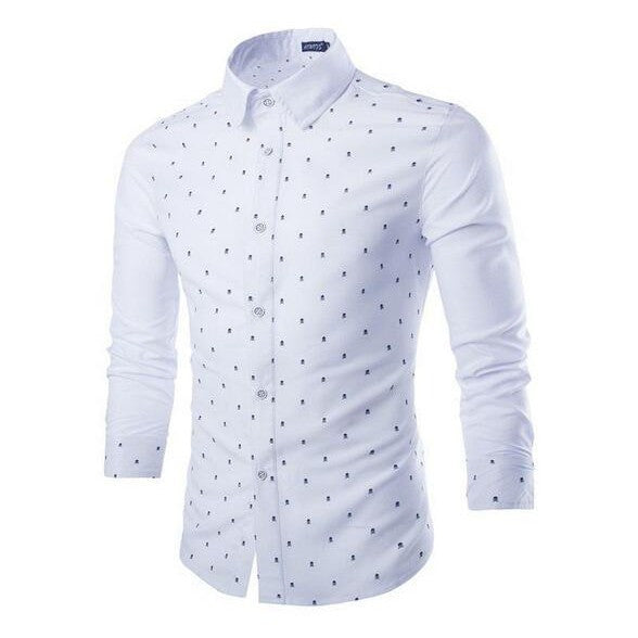 New Slim Men Stitching Long Sleeve Shirt Fashion Skeleton Print Shirt
