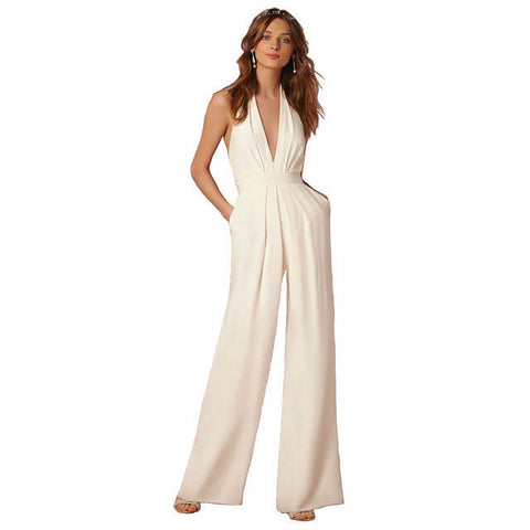 Elegant Deep V-Neck Sleeveless Pocket Jumpsuit Rompers Women Backless Zipper Wide Overall