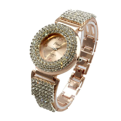 Retro Rhinestone Crystal Quartz Movement Analog Bracelet