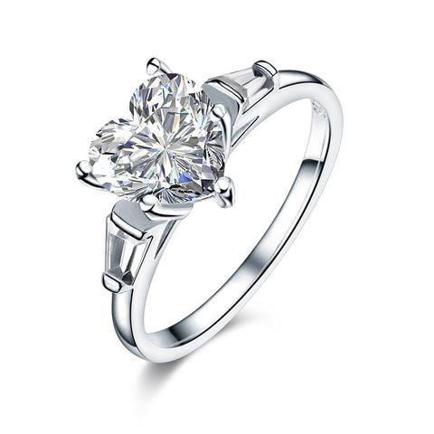 925 Sterling Silver Wedding Engagement Promise Ring 2 Carat Heart Jewelry Simulated Diamond