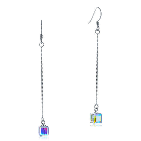 Top Quality Dangle Drop Line Solid 925 Sterling Silver Earrings AB Austrian Crystal Party Birthday Gift