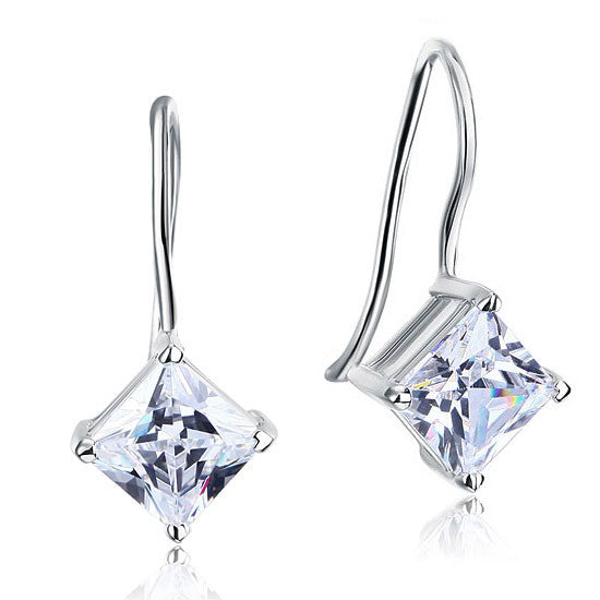 3 Carat Princess Cut Simulated Diamond Hook Dangle Drop 925 Sterling Silver Earrings
