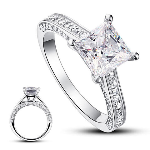 925 Sterling Silver Wedding Engagement Ring 1.5 Carat Princess Cut Simulated Diamond