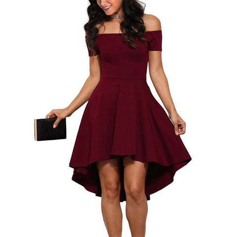 Summer Fashion Women Elegant Casual Off One Shoulder Dresses Sexy Ladies Party Evening Short Sleeve Dress