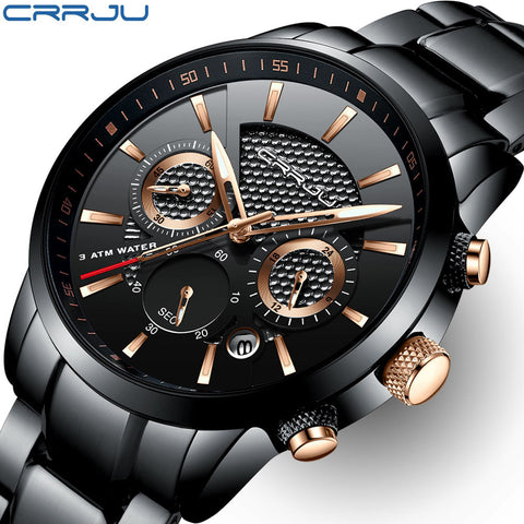 Luxury Brand CRRJU Chronograph Men Sports Watches Waterproof