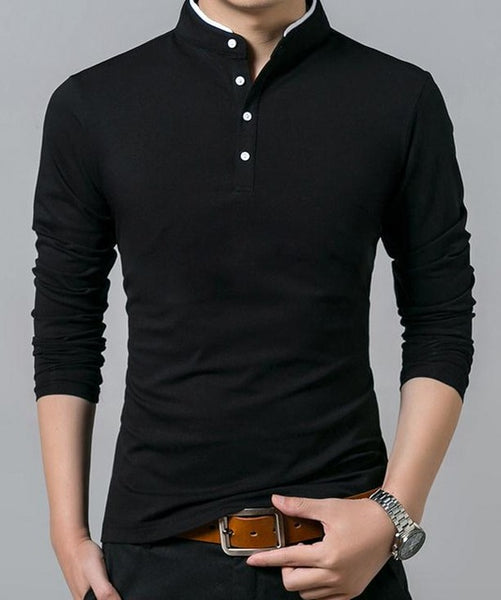 2018 men's long sleeves shirt solid color Slim Casual