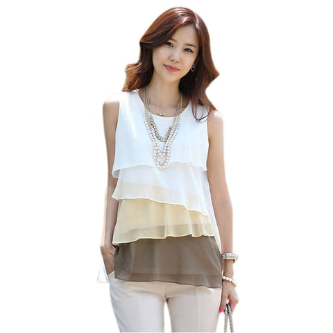 Korean Women Multi-layered Sleeveless Chiffon Tank Tops