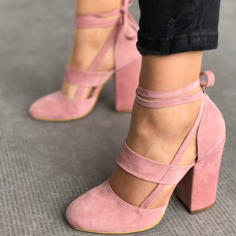 Women Pump Gladiator Heels Lace Up High Heel Pink