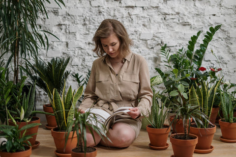 Woman seated on the floor, reading a book while surrounded by plants. Picture from cottonbro on Pexels.