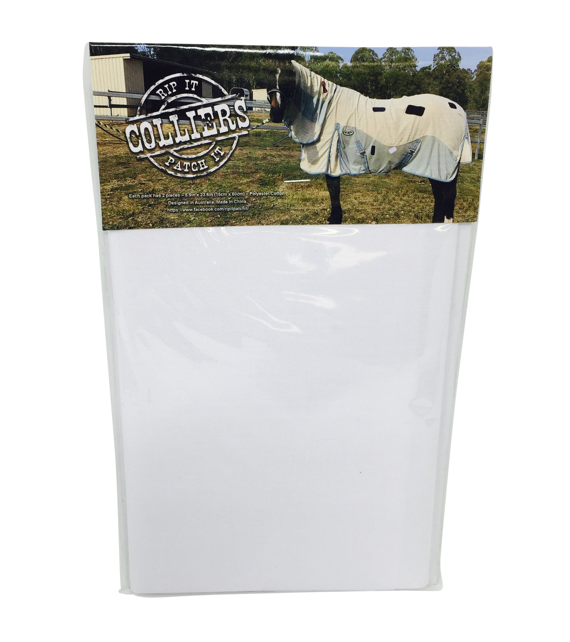 Horse Blanket Iron On Repair Mending Patches - White