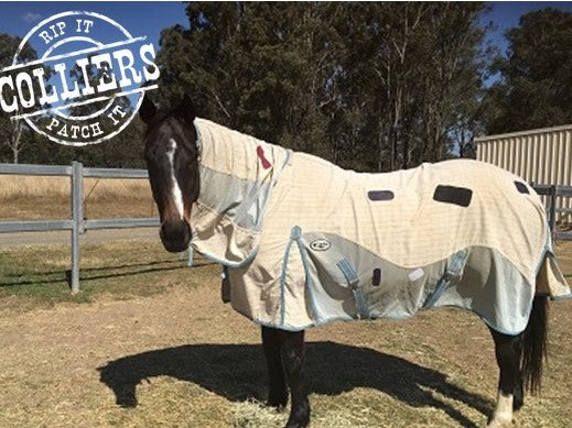 HEAVY DUTY Horse Blanket Iron On Repair Mending Patches - Navy