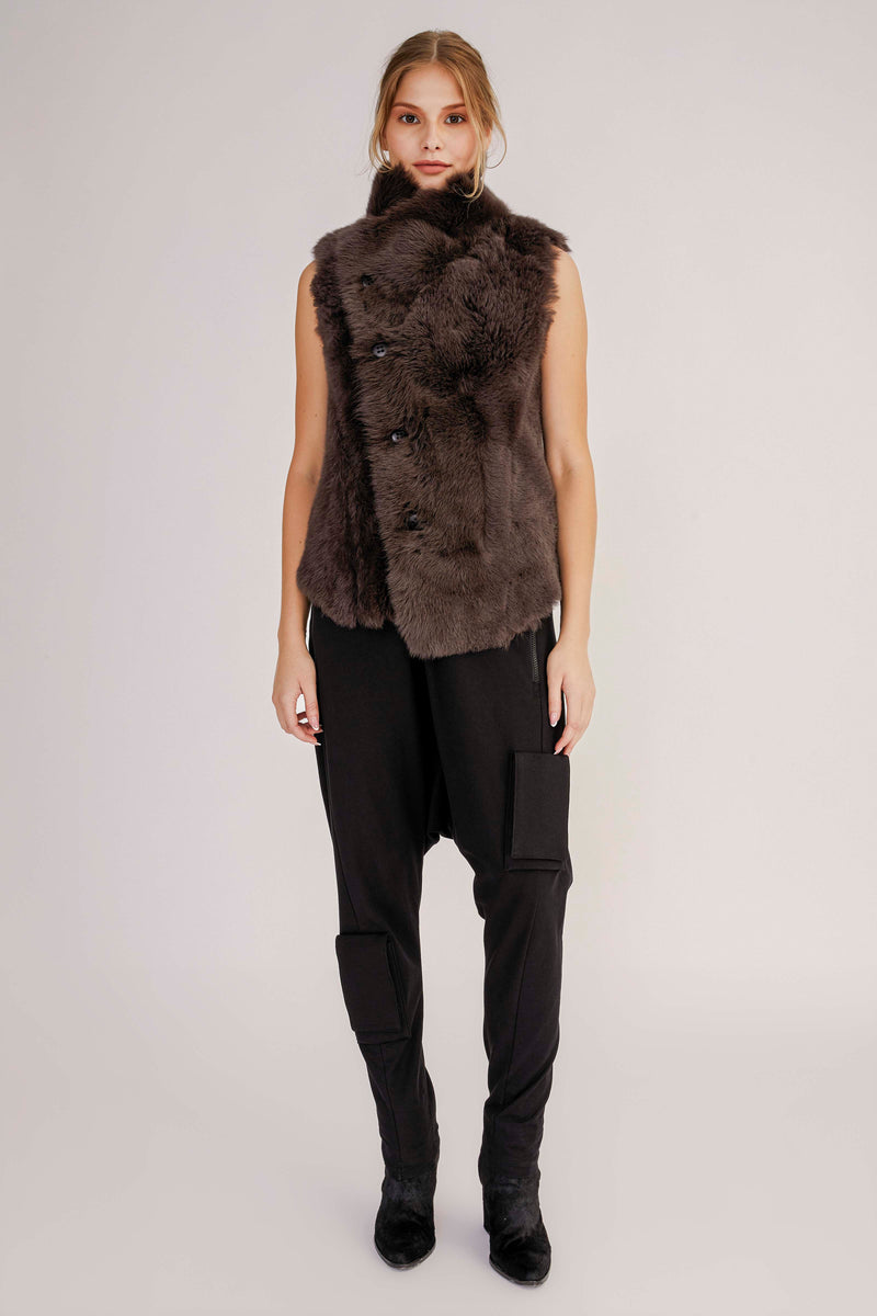 Reversible Short Shearling Vest (4073224536125)