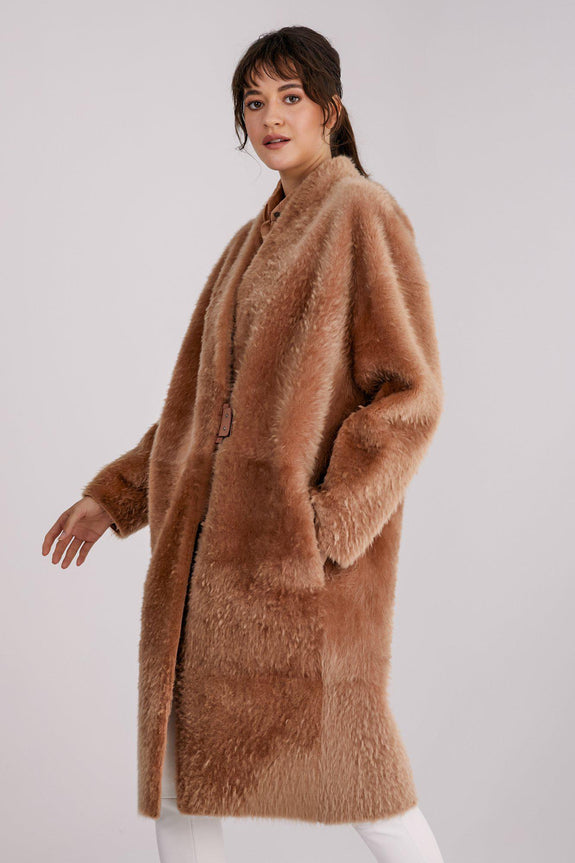 V-Neck Shearling Coat