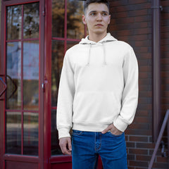 Guy wearing a fitted white hoodie with jeans.