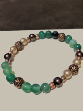 Green Jade, Pearls & Rose Metal Accents