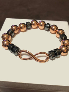 Rose Gold & Grey Hematite Rose Gold Infinity Symbol