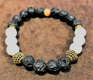 Men's Tridacna Stone Shell Lava Rock & Gold CZ  Accents with Gold Metal Accents