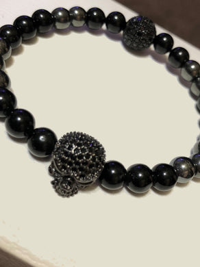 Black Tourmaline & Grey Hematite Beads with Black CZ Skull and Ball