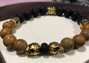 Men's Wood Grain Jasper Lava Rock & Gold Skulls with Gold Accents