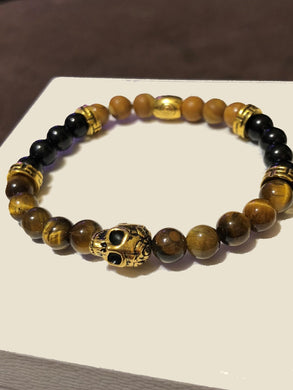 Obsidian, Wood Grain Jasper, Tiger's Eye with Gold Skull and Gold Accents
