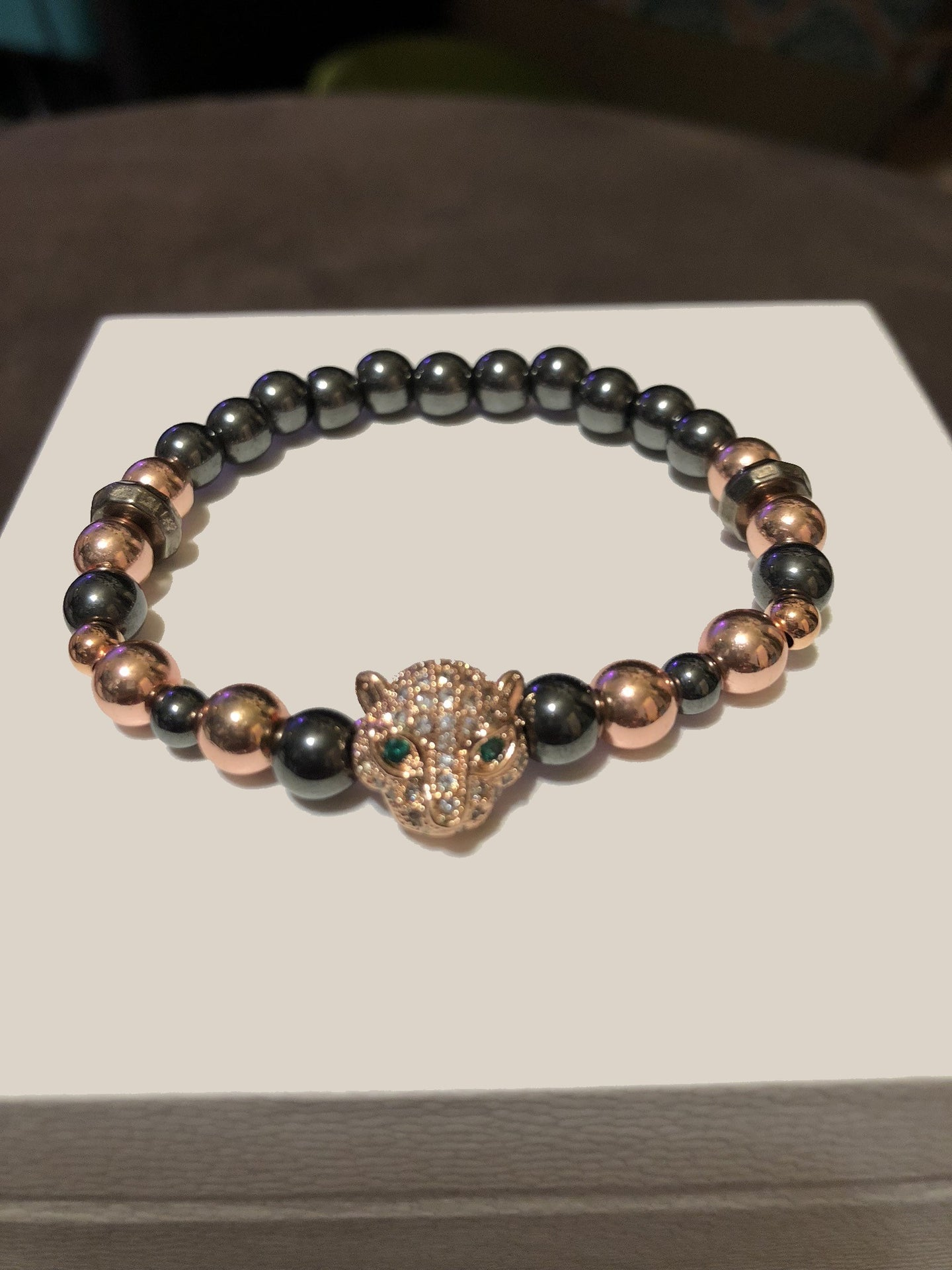Hematite Beads with Rose Gold CZ Leopard Metal Accents