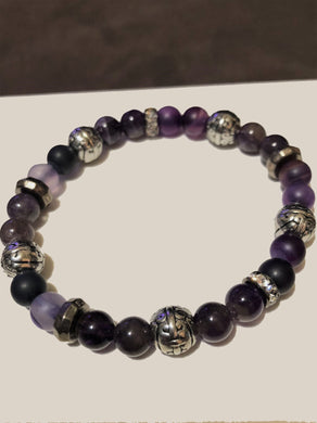 Amethyst beads with Hematite, CZ & Metal Accents