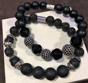 Men's Obsidian Onyx Lava Rock with Silver CZ and Metal Accents