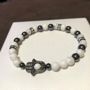 Hamsa Hand with White Howlite and Hematite