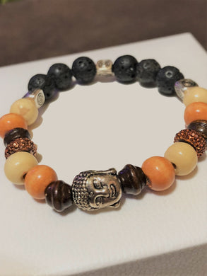 Buddha with Wood Beads, Lava Rocks  and metal accents